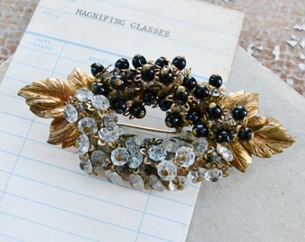 Antique Beaded Wreath Brooch - Vintage Gold Leaf and Black Beading Art Deco