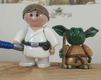 Yoda and Luke Skywalker for Fairy Garden OOAK cake topper ornament handmade miniature