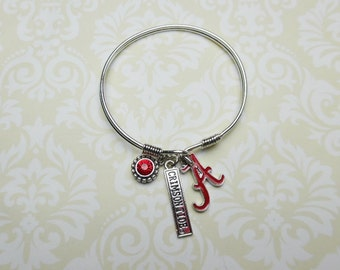 Alabama Crimson Tide  Bangle Bracelet with 3 charms