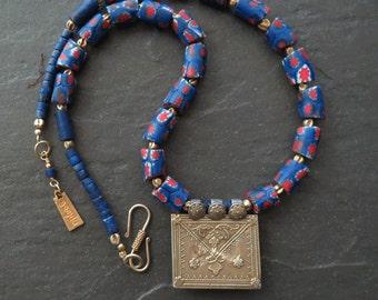 Antique African Venetian Trade Beads Necklace Gold Wash Uzbek Pendant
