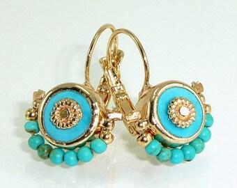 SALE- Turquoise Earrings, Turquoise Gold Dangle Earrings, December Birthstone, 24k Gold post Gemstones Drop Earrings.