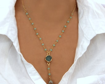 Turquoise Druzy Necklace, Crystal Necklace, Agate Necklace, Turquoise Rosary Necklace, Crystal,Turquoise,Gemstones Necklace By Inbal Mishan.
