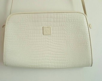 Anne Klein White Leather Shoulder Bag / Clutch