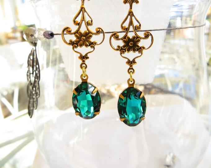 Art Nouveau Earrings, Emerald Green Czech Stones, Drop Earrings