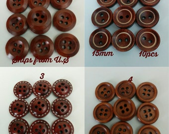 10pcs small buttons wood 15mm; available in 4 designs-natural buttons-clothing buttons-brown buttons