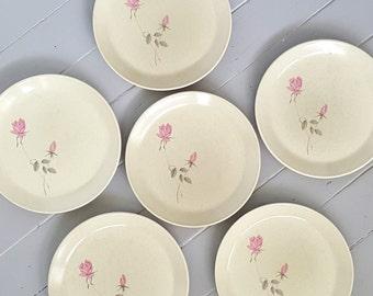 Johnson Dinner Plates Pink Roses