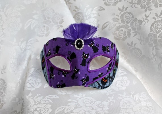 Purple Black Halloween Masquerade Ball Mask Black Cat Pumpkin Halloween Party Mask