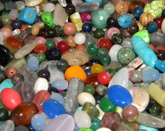 New Semi Precious, Gem beads lot 8/oz Per lot ordered 6mm-20mm sizes