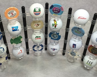 Golf Ball Display Rack, Holds 24 balls, 4 Poker Chips and Ball Markers