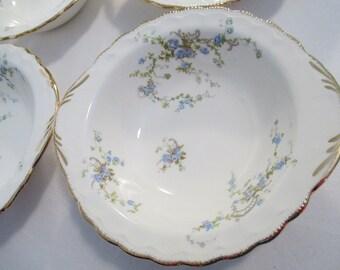 Vintage Noritake China Fleurette Lugged Cereal Bowls - Set of 4