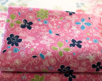 Fat Quarters ~ Girly Flowers Cotton ~ Deep Pink Floral Fabric ~ 100% Cotton