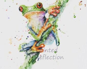 Tree frog watercolor/ tree frog painting/ Tree Frog art