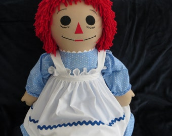 36 inch Traditional Raggedy Ann with Tea Stain color fabric Custom Personalized Handmade