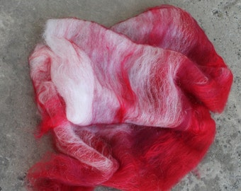 Spinning batt merino polish merino silk firestar Cinnabar Spinning Box red spin felt white 1 oz