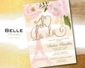 Baby Shower Invitation - Paris Inspired with Gold Glitter Ooh La La - DIY Printable - Pink - Creme Stripes