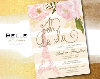 Baby Shower Invitation - Paris Inspired with Gold Glitter Ooh La La - DIY Printable - Pink - Creme Stripes