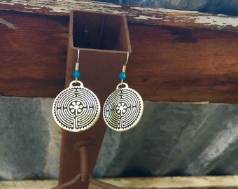 Large Labyrinth Earrings in Solid Blue