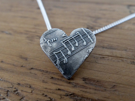 Music Note Heart Necklace. Music Pendant, Music Jewellery, Music Gift, Music Charm, Heart with Sheet Music, Musical Heart Charm Necklace