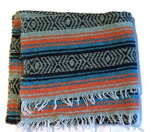Vintage Mexican Serape Blanket Baja Surf Blanket Throw Beach Camp Super Soft Blanket Mexico Textile Orange & Mint