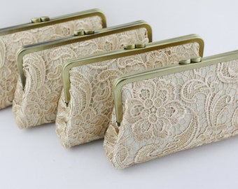 Champagne Lace Bridesmaid Clutches / Retro Style Lace Wedding Clutches / Wedding Gift / Bridal Clutch Set - Set of 4