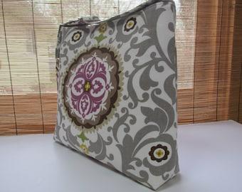 Grey/Purple Floral Slouchy Bag, Bucket Bag, Messenger Bag, Shoulder Bag