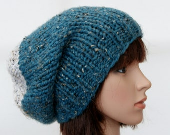 Chunky knit beanie in Ocean and oatmeal/slouchy hat/thick beanie