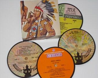 OLDIES Coasters, Bubblegum music vinyl record coasters, 60s music coasters