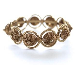 Vintage Gold Tone Tribal clamper hinged bracelet