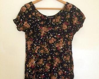 90's grungy floral mini dress