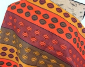 African Graphic Print Fabric--Orange, Brown, and Tan Striped Print with Conch Shell Pattern--Made in Mali--African Fabric by the HALF YARD