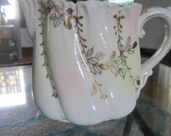 Beautiful Old Porcelain Pitcher Gold Vintage Pitcher Lusterware Lustreware Vase