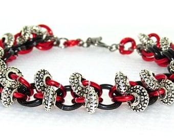 Red & Black Chain Mail Bracelet