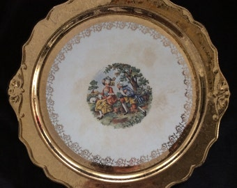 Vintage 22k gold decorative plate