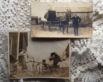 Vintage photos - Horse and buggy, 2 photos