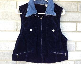 faux velvet navy denim vest