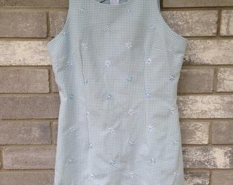90s baby blue flower gingham mini dress