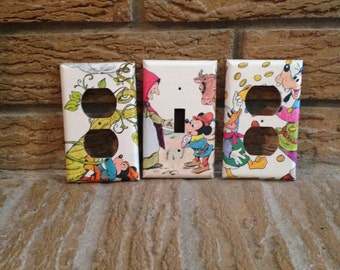 Donald Duck Mickey Mouse and Goofy Electrical Outlet and Light Switch Covers, Mickey Mouse Decor, Goofy Decor, Decoration, Nursery