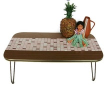 Mid Century Modern plant stand, small coffee table formica and ceramics from the 50s