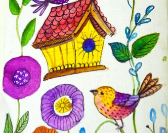 Birds, Bird art, Bird Painting, Children room decor, Watercolor birds,Bird and birdhouse