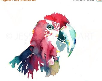 ON SALE Original Macaw Watercolor Painting, Parrot Watercolor, Bird Painting, Bird Watercolor, Original Parrot Painting, Colorful Bird Art