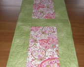 Valentines Day Quilted Table Runner Pink and Green Quilt Little Girl Dresser Scarf Quilted Table Topper