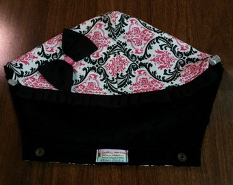 Tula Hoodie Hood in Pink and black damask (Bella) fabric and Black minky, with ruffle and bow