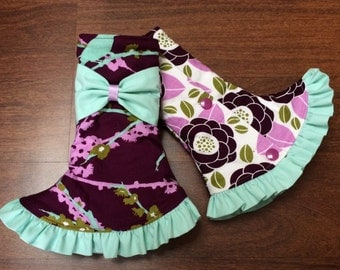 SSC Corner Drool Pads Birds on plum (Chloe) and Plum flowers, with Ruffle & Bows REVERSIBLE Fits Ergobaby, Tula, Boba