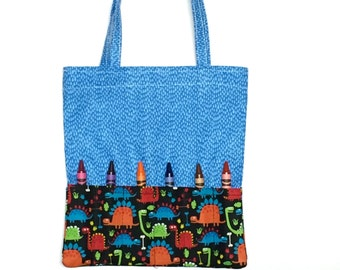 Crayon Holder -  Crayon Tote - Blue Tote -  Crayon Holder - Activity Pad holder