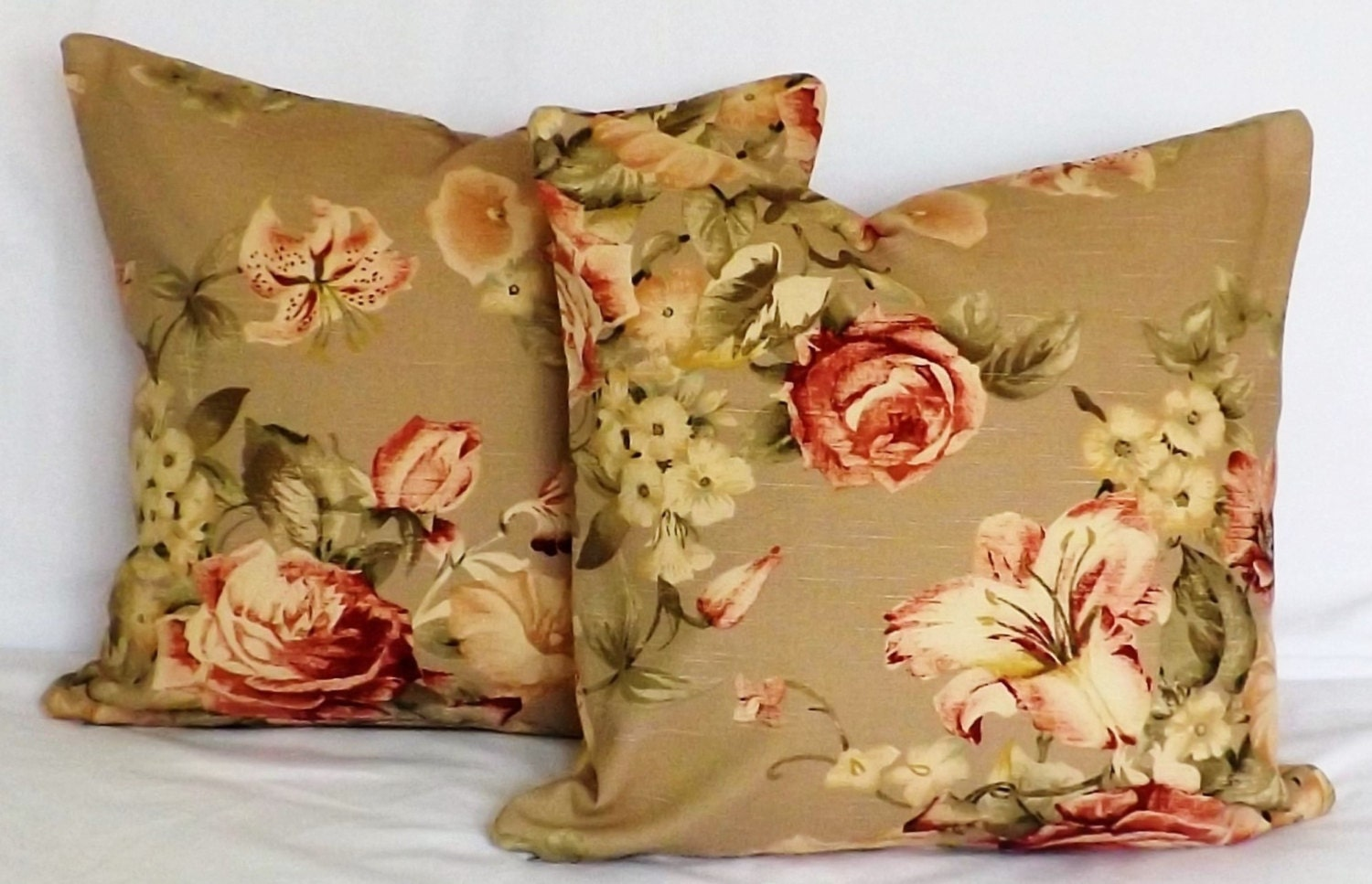 Sale floral tan cream green burgundy gold pair set two pillow for Beige and gold pillows