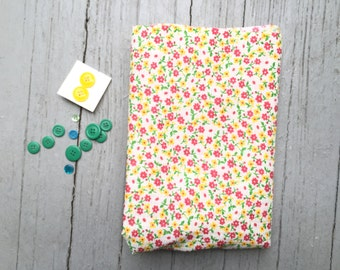 """Vintage Seersucker Fabric, 36"""" x 47"""", Summer Dress for Baby, Child's Clothing, Crafting, Quilting, Red Yellow Green, Buttons Included"""