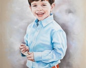 Custom Pastel portrait, Handmade portrait of young boy