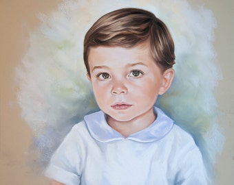 Pastel portrait of a boy. Siblings Head and shoulders portrait