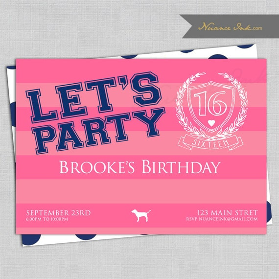 Pink Birthday Party Invitations, wedding shower, victorias secret, sweet 16, 15th, 16th, 17th, 18th, 19th, 20th, any age, any color scheme