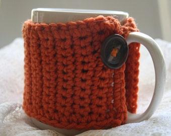 Mug Cozy, Crocheted Mug Jacket, Coffee Cup Cover, Re-Usable Mug Wrap,Rusty Orange Brown Button